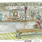 富良野駅の構内:店のおばちゃんが興味を持ってくれました。