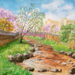 春色の町:地元の川沿いで描きました。ソメイヨシノは開花してから散るまであっという間ですね。