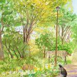 お散歩日和:「港の見える丘公園」で描きました。多くの観光客が来ていて、花壇の写真を撮っている人もいました。